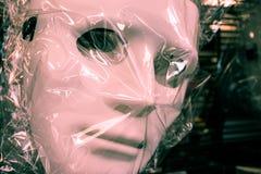 Halloween Anonymous Mask White Guy Fawkes Wrapped Closeup Holida Stock Photo