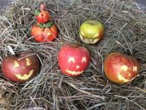 Halloween with apples. Faces and grimaces with apples, easy to with big Stock Photography