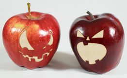 Halloween - Apples with faces royalty free stock photography