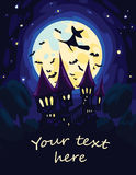 Halloween Art with Moon, Castle and flying Witch. Stock Image