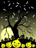 Halloween background with pumpkins and bats Stock Photo