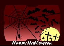 Happy Halloween greeting card with crosses and spider. Artwork dedicated to Halloween with stylized bats, crosses and cobweb Stock Photography