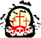 Halloween label with bats and crosses isolated. Artwork dedicated to Halloween with stylized bats, skulls and crosses Stock Image