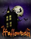 Halloween assombrou a casa com texto 3D Imagem de Stock Royalty Free