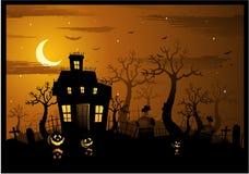Halloween assombrou o fundo da casa Fotos de Stock Royalty Free