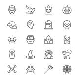 Halloween assottiglia le icone Immagini Stock