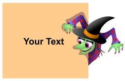 Halloween-Aufkleber mit einer Hexe Stockfotografie