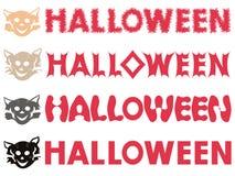 Halloween-Aufschriften und katzenartige Schablonen Stockfotos