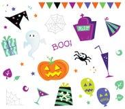Halloween-Auslegungelemente und -ikonen I Stockbilder