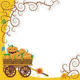 Halloween or autumn background. With wagon full of pumpkins and funky vines Stock Images