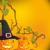 Halloween autumn background with three pumpkins,  Royalty Free Stock Images