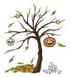 Halloween, autumn. Colorful halloween tree with skull and pumpkin Royalty Free Stock Images