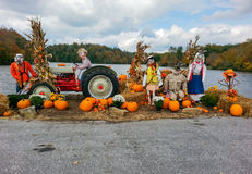 Halloween Autumn Display of Scarecrows. Eye catching outdoor display of scarecrows for the autumn Halloween season in the Blue Ridge Mountains in Linville, North Stock Image