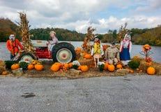 Halloween Autumn Display of Scarecrows Stock Image
