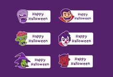 Halloween avatar cartoon character card stock illustration