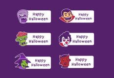Halloween-avatar de kaart van het beeldverhaalkarakter stock illustratie