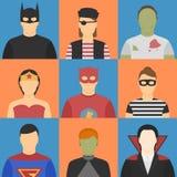 Halloween avatars. Nine halloween avatars. Five male, four female. Halloween costumes Royalty Free Stock Photography