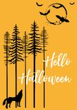 Halloween avec le loup d'hurlement et les battes, vecteur photographie stock