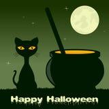 Halloween avec le pot magique et le chat noir Images stock