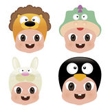 Halloween Baby Masks. Abstract baby face with different masks on a white background Stock Photo