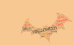 Halloween backgroun: bat made from scary words. Shaped with words Hallowen bat on a solid orange background Stock Photos