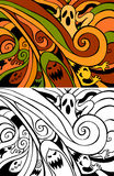 Halloween Background. With ghosts and spirits - color and black/white versions Stock Photo