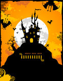 Halloween Background. Halloween party invitation or background with haunted castle and bats Royalty Free Stock Photos
