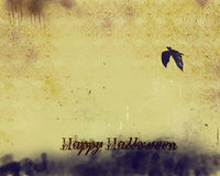 Halloween  background. Grunge Halloween background with repeating pattern and flying bat Royalty Free Stock Photo