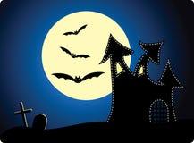 Halloween background. Cartoon  halloween background with castle Stock Photo