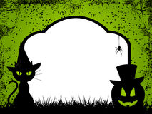 Halloween background 12. Grungy halloween background wih black cat and pumpkin in front of tomb stone Royalty Free Stock Photos