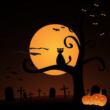 Halloween background. Illustration of an Halloween background with pumpkins,full moon, a cat, a cemetery and bats.EPS file available Stock Photo