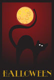 Halloween background. Halloween images on red background with cat and moon vector illustration