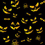 Halloween background. Scary Halloween faces from the dark background Royalty Free Stock Images