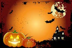 Halloween background. With moon, bat  and pumpkin Stock Photos