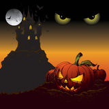 Halloween Background. Scary halloween background with moon and pumkin Stock Photo