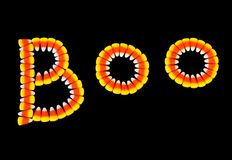 Halloween background. ~ Candy Corn Boo~ Letters Black Background Royalty Free Stock Images