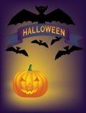 Halloween  background. With horror pumpkin and bats Stock Photos