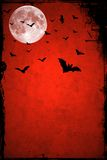 Halloween background. Bats flying in grunge red sky in the night with a full moon in the background. Perfect background for Halloween concept and with plenty of Royalty Free Stock Images