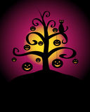 Halloween background. Halloween night background with a tree with hanging pumpkins and a black cat.EPS file available Royalty Free Stock Image