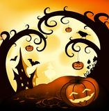 Halloween Background. Halloween illustration background with trees, pumpkins, castle; full moon and crow Stock Image