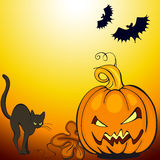 Halloween background. Pumpkin with cat and  bats Royalty Free Stock Photography