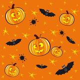 Halloween background. Seamless orange background for Halloween with pumpkins and bats Stock Image