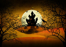 Halloween background. Halloween design background with spooky graveyard, naked trees, graves and bats vector illustration