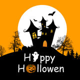 Halloween background. With haunted house, bats and full moon, vector illustration Stock Images