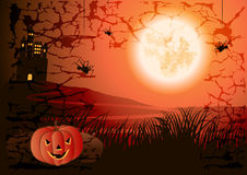 Halloween background. Halloween pumpkins against the full moon Royalty Free Stock Images
