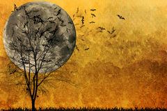 Halloween background. Bats and Full Moon Stock Images