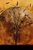 Halloween background. Tree and Full Moon Stock Photos