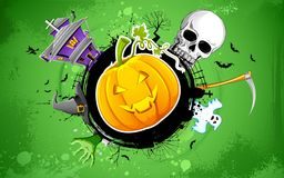 Halloween Background. Illustration of halloween background with pumpkin, skull and haunted house Stock Photos
