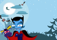 Halloween background. With Dracula, werewolf, witch, bats and funny creatures Stock Photo