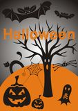 Halloween background. With pumpkins, ghost, tree, bats, cat, spider and spiderweb Royalty Free Stock Image